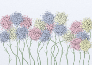 Cotton ball flowers with pastel colors of blue, yellow, and pink with light green watercolored stems. Background of light blue skies.
