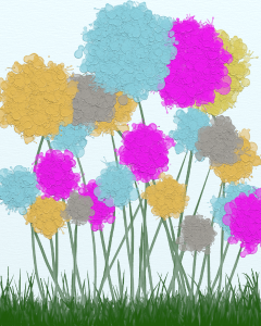 Splat painted water color flower scene. Flowers are of yellow, blue, fuchsia, and grey. Green stems, and grass with a blue sky all around.