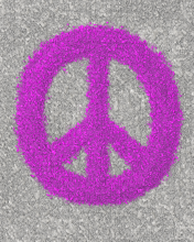 Peace sign made from splats of paint