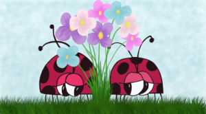 Two ladybugs find each other between a bunch of colorful flowers. It's love at first sight for these two love bugs. Green grass beneath them, flowers are of purple, pink, and blue with green stems.   Speckled blue skies all around them.