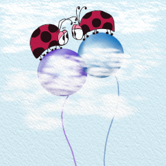 Two ladybugs on balloons!