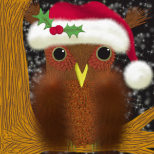 The Christmas Eve Owl is decked out in his Santa hat. Waiting to see Santa pass by in the night sky, sitting on his favorite tree branch.