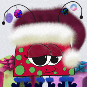 The Christmas Love Bug is all decked out in her Santa hat, with colorful textured ornaments hanging from her antenna. She stands before some wrapped gifts.
