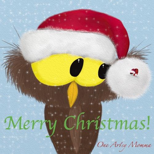Merry Christmas owl and ladybug