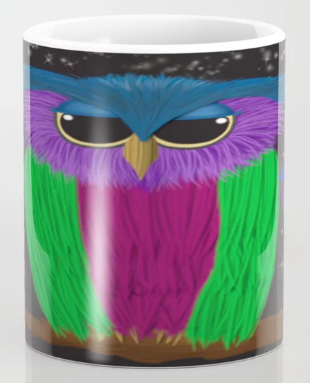 The Prismatic Crested Owl Coffee Mug.  By One Artsy Momma