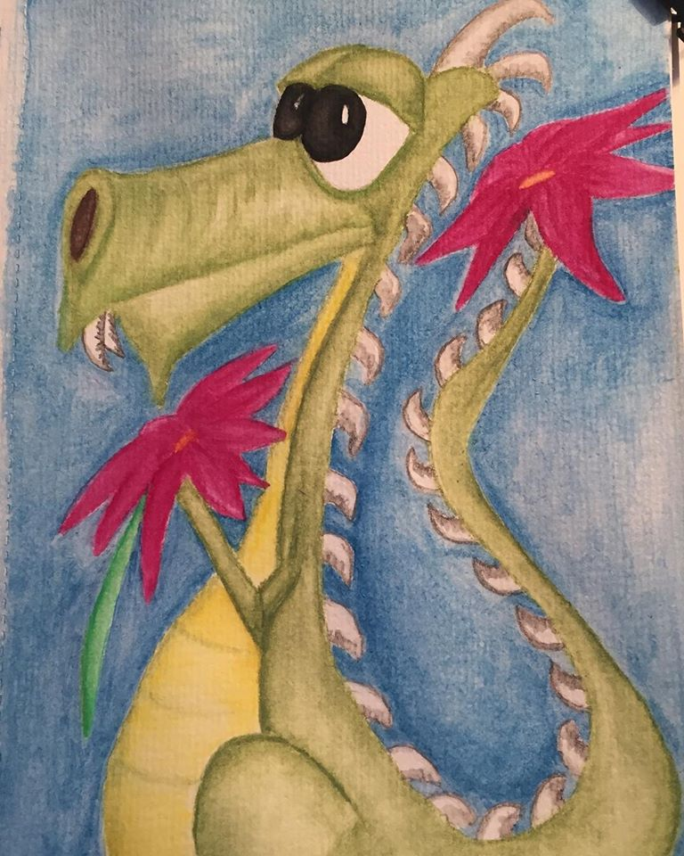 Earth Dragon Watercolor Painting