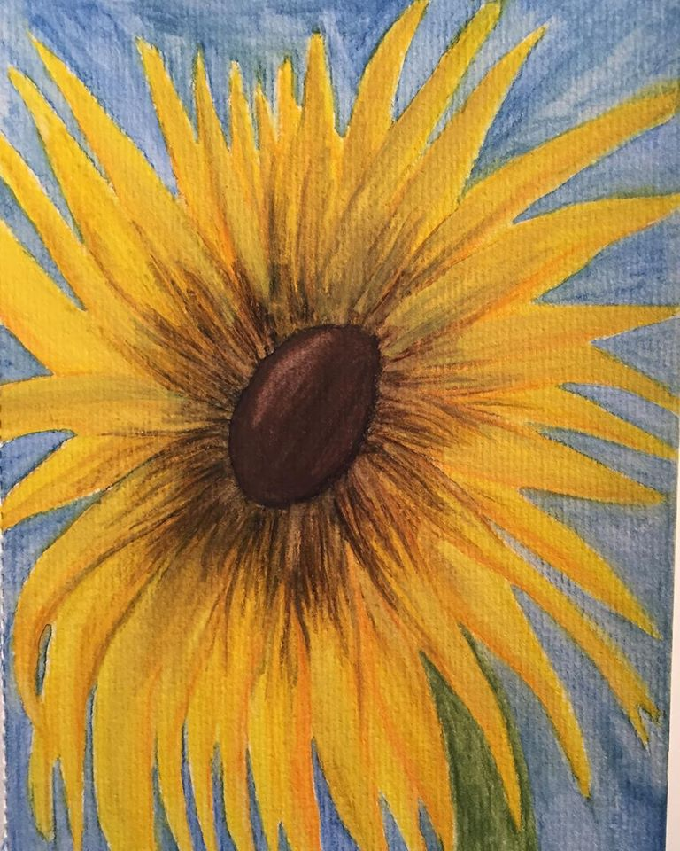 Sunflower Watercolor Painting.