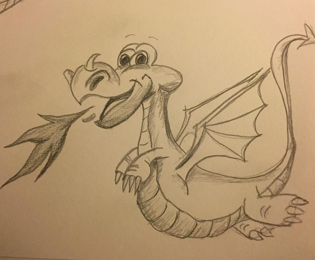 Cute dragon illustration. My first attempt at drawing a dragon. Fire dragon illustration.